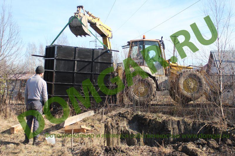 Монтаж металлического погреба кессона